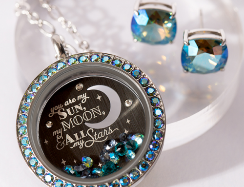 Origami Owl Sun Moon Stars Locket | Erinite Swarovski Crystals
